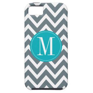 Cyan Blue and Grey Chevron Custom Monogram iPhone 5 Cases