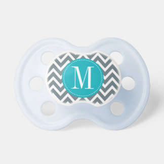 Cyan Blue and Grey Chevron Custom Monogram Pacifier