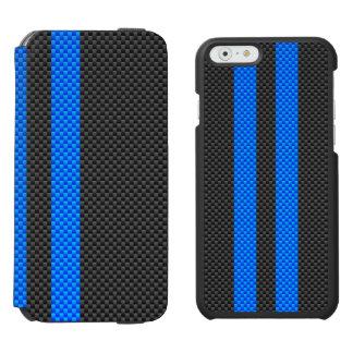 Cyan Blue Carbon Fiber Style Racing Stripes Incipio Watson™ iPhone 6 Wallet Case