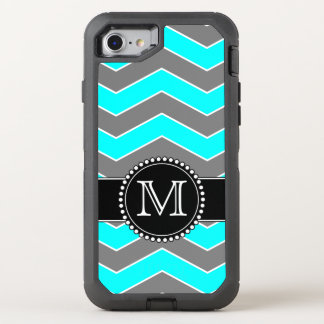 Cyan Blue, Grey, Black Chevron, Monogrammed OtterBox Defender iPhone 7 Case