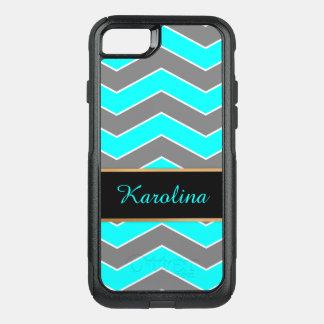 Cyan Blue, Grey, Black Chevron, Personalized OtterBox Commuter iPhone 7 Case