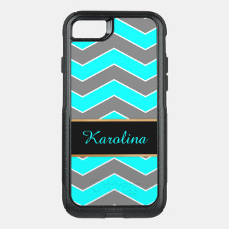 Cyan Blue, Grey, Black Chevron, Personalized OtterBox Commuter iPhone 8/7 Case
