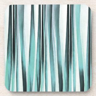 Cyan Blue Ocean Stripey Lines Pattern Coaster