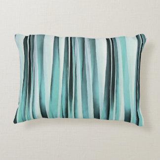 Cyan Blue Ocean Stripey Lines Pattern Decorative Pillow