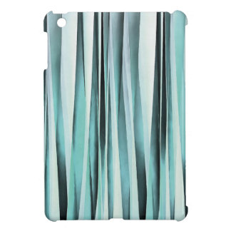 Cyan Blue Ocean Stripey Lines Pattern iPad Mini Cover