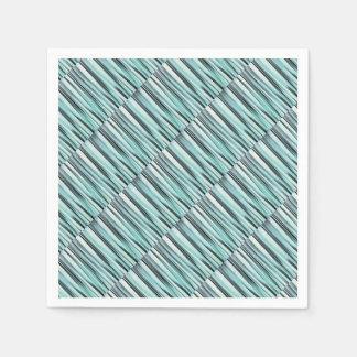 Cyan Blue Ocean Stripey Lines Pattern Paper Napkin