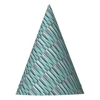 Cyan Blue Ocean Stripey Lines Pattern Party Hat