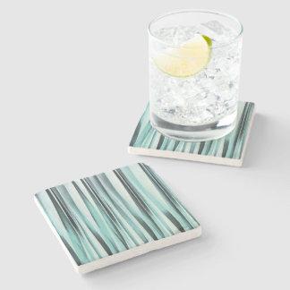 Cyan Blue Ocean Stripey Lines Pattern Stone Coaster