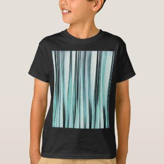 Cyan Blue Ocean Stripey Lines Pattern T-Shirt