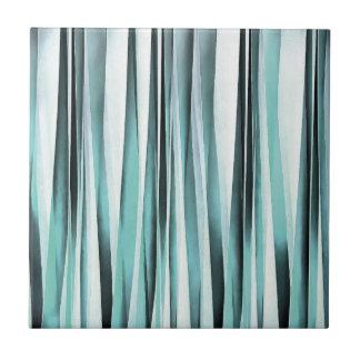 Cyan Blue Ocean Stripey Lines Pattern Tile