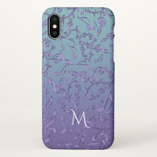 Cyan Blue Purple Music Notes Monogram iPhone X Case