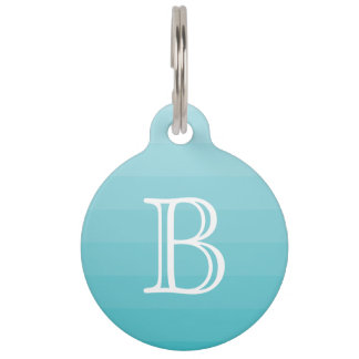 Cyan Blue Stripes Monogram Initial Name Simple Pet Tag