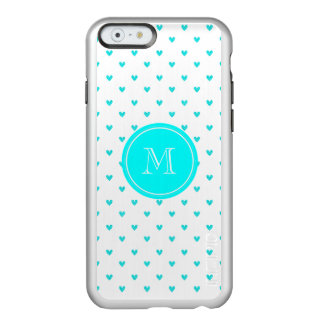 Cyan Glitter Hearts with Monogram Incipio Feather® Shine iPhone 6 Case