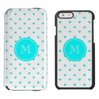 Cyan Glitter Hearts with Monogram Incipio Watson™ iPhone 6 Wallet Case