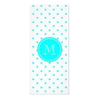 Cyan Glitter Hearts with Monogram 4x9.25 Paper Invitation Card