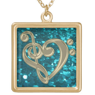 Cyan Glitter Music Treble Bass Clef Heart Necklace