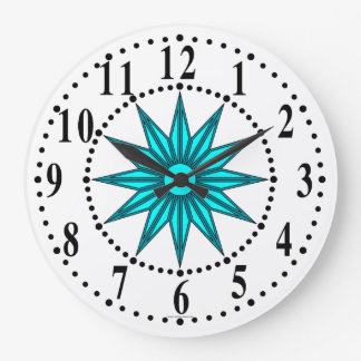 Cyan Guiding Star Wall Clock