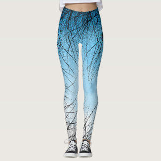 Cyan Linear Crosshatch - Leggings