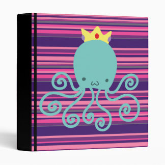 Cyan Octopus Princess 3 Ring Binder