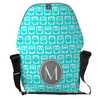 Cyan Owl Monogram Rickshaw Messenger Bag