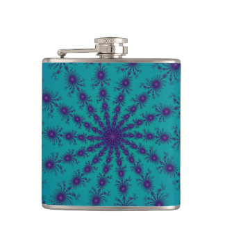 Cyan Purple Fractal Star Hippie Trippy Fun Flask
