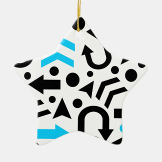 Cyan right direction ceramic star ornament