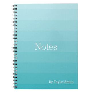 Cyan Shades of Blue Horizontal Stripes Youthful Notebook