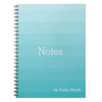 Cyan Shades of Blue Horizontal Stripes Youthful Spiral Notebook