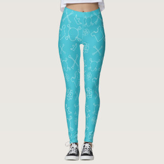 Cyan Skull and Bones pattern Leggings