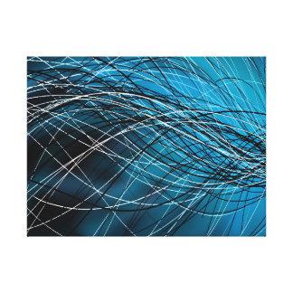 Cyan Swirling Lines - Canvas Print