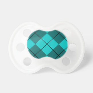 Cyan Teal Blue Argyle Baby Pacifier
