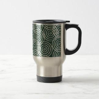 Cyan Wood Ikat Overlap Circles Geometric Pattern Mugs