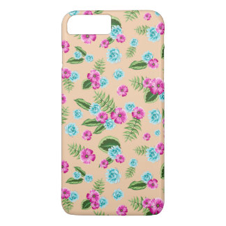 Cyan x Pink Flowers Pattern iPhone 7 Plus Case