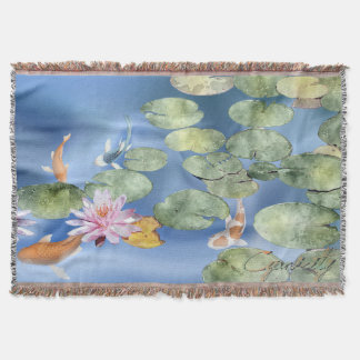 Cyanicity Koi Pond custom throw blanket