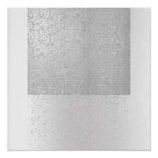 Cyber Binary Minimal Monochromatic Silver Gray Lux Poster