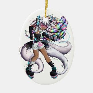 Cyber Kitsune Girl Ceramic Ornament