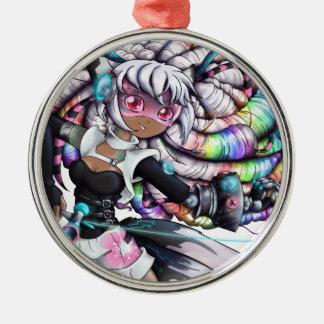 Cyber Kitsune Girl Metal Ornament