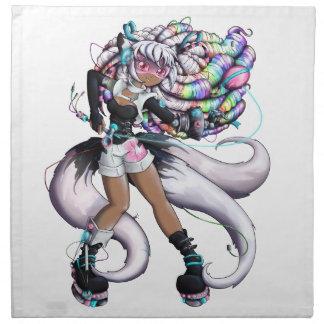Cyber Kitsune Girl Napkin