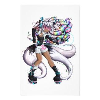 Cyber Kitsune Girl Stationery