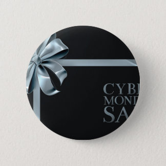 Cyber Monday Friday Sale Silver Ribbon Bow Design 2 Inch Round Button