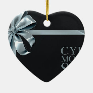 Cyber Monday Friday Sale Silver Ribbon Bow Design Ceramic Ornament