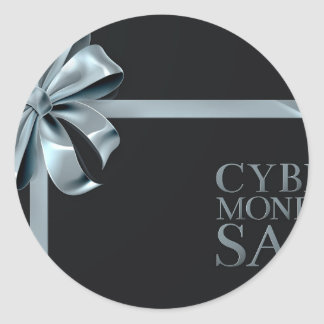 Cyber Monday Friday Sale Silver Ribbon Bow Design Classic Round Sticker