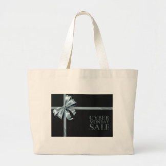 Cyber Monday Friday Sale Silver Ribbon Bow Design Large Tote Bag
