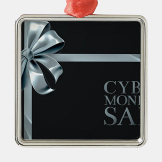 Cyber Monday Friday Sale Silver Ribbon Bow Design Metal Ornament