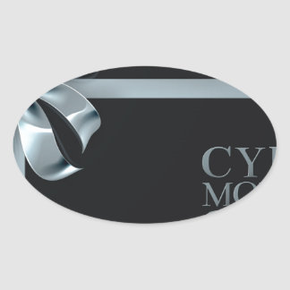 Cyber Monday Friday Sale Silver Ribbon Bow Design Oval Sticker