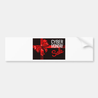 Cyber Monday Sale Gift Ribbon Bow Sign Bumper Sticker