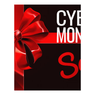 Cyber Monday Sale Gift Ribbon Bow Sign Letterhead