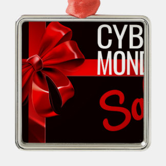 Cyber Monday Sale Gift Ribbon Bow Sign Metal Ornament