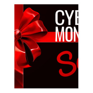 Cyber Monday Sale Gift Ribbon Bow Sign Postcard