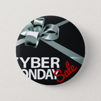 Cyber Monday Sale Silver Ribbon Gift Bow Design 2 Inch Round Button